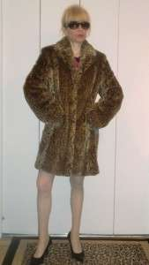 KRISTEN BLAKE STYLISH LEOPARD ANIMAL PRINT WARM BROWNS SOFT FAUX FUR