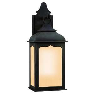 Sconce, Colonial Iron Finish with Amber Mist Glass