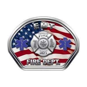 Firefighter Fire Helmet Front Face EMT American Flag Decal