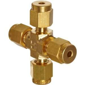 Parker A Lok 4ECR4 B Brass Compression Tube Fitting, Cross, 1/4 Tube