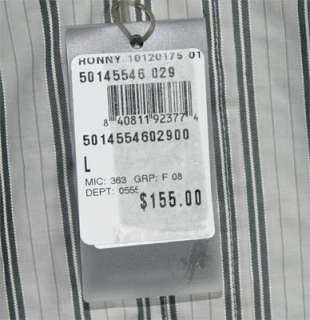 NWT NEW HUGO BOSS MENS SLIM FIT STRIPED DRESS SHIRT L