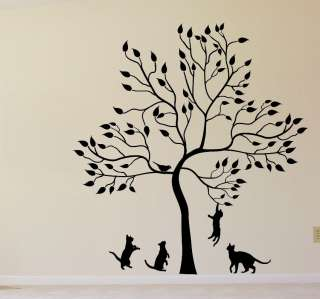 BIG TREE WITH KITTENS BIRD CAT WALL Sticker Mural