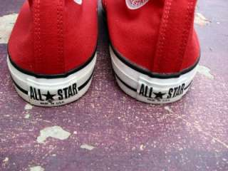 VINTAGE CONVERSE ALL STAR RED CANVAS SHOES USA CHUCK TAYLOR US12