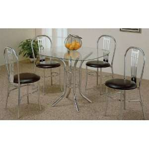 Polished Chrome Metal Dining Table & 4 Chairs Set Furniture & Decor