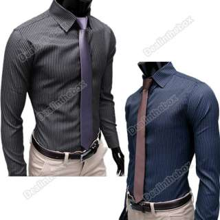Men Stripe Stylish Casual Dress Slim Fit Long Sleeve Shirt Black Blue