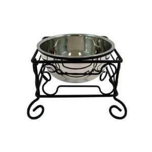 Wrought Iron Stand with Single Stainless Steel Bowl Size Medium (7 H