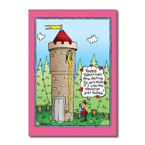 Funny Valentines Day Card Rapunzel Elevator Humor Greeting