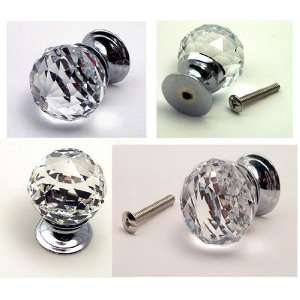 Large Rounded Crystal Glass Drawer Pull Clear Everything