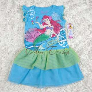 Girls Size 4 5 6 6X Princess Ariel Mermaid Summer Party Dress Costume
