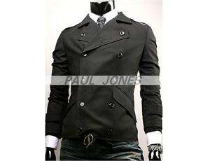 PJ Mens Slim Designed Coat Jacket Winter Black Trench