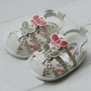 Baby Infant Girl White Butterfly Sandals Newborn Dress Crib Shoes US