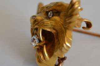 CIRCA 1900s ART NOUVEAU 14k GOLD & DIAMONDS LION FACE PIN