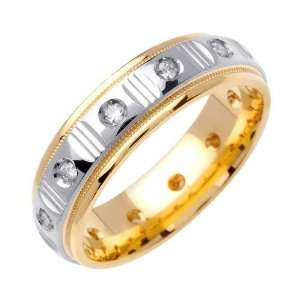 .24ct 18K Gold Two Tone Diamond Wedding Band (6 mm) Jewelry