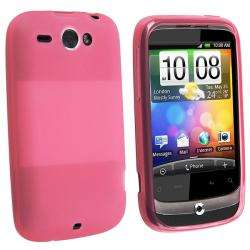 Clear Pink TPU Rubber Case for HTC Wildfire