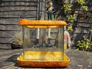 Rare Austrian Art Deco Glass & Terracotta Fish Tank Aquarium c.1920 30