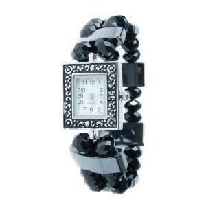 Magnetic Hematite Black Bead Ladies Bracelet Watch