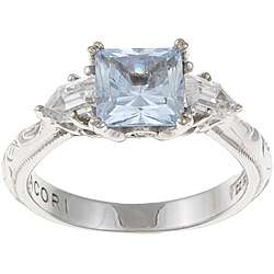 Tacori IV Sterling Silver Blue and Clear Cubic Zirconia Ring