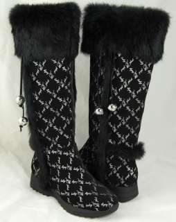 Baby Phat Womens Wauna Black Faux Fur Boots