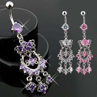 FANCY CZ CHANDELIER BELLY NAVEL RING DANGLE BUTTON PIERCING JEWELRY