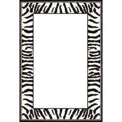 Lyndhurst Collection Zebra Border Black/ White Rug (6 x 9
