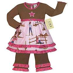 JoJo Designs Girls Western Horse Cowgirl 2 piece Dress Set