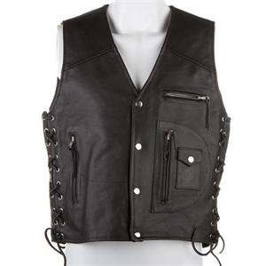 River Road 4 Pocket Leather Vest   2X Large/Black