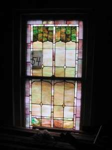 VICTORIAN ANTIQUE PAIR OF STAINED GLASS WINDOWS JB54