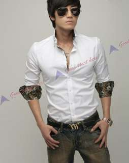 New Fashion Korean Version Mens Slim Striped Casual Long sleeve Shirts