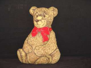 VINTAGE FABRIC PRINT PILLOW TEDDY BEAR RED BOW ACCENT PLUSH STUFFED