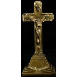 Antique French Art Deco Standing Crucifix Cross Roses