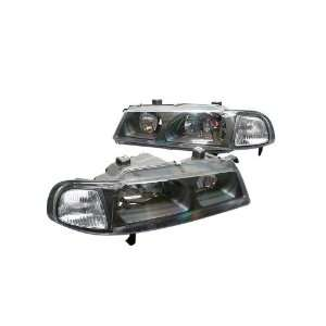 Euro Headlights Black W / Clear corner 92 96 Honda Prelude