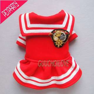 Dog Dress Puppy Clothes Sailor Badge Luxury Costumes Anchor Coat Free