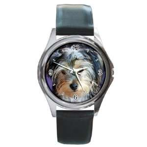 Yorkshire Terrier Puppy Dog 3 Round Leather Watch CC0654