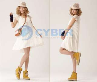 Fashion Korea Women Sweet Pleated Chiffon Mini Dress