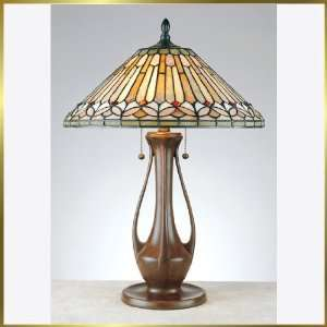 Tiffany Table Lamp, QZTF6750OP, 2 lights, Antique Bronze, 18 wide X