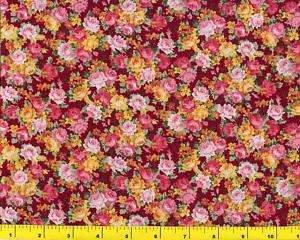 Red Yellow Pink Roses Quilting Fabric by Yard 1159
