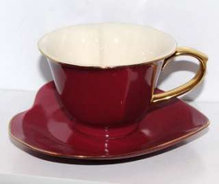 NEW Yedi RED & Gold Heart Shaped Porcelain Tea Coffee Cup MOTHERS DAY