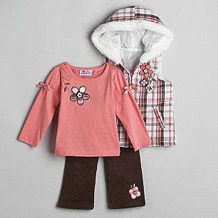 Infant Girls Faux Fur Trimmed Vest Set  Kids Play Baby Baby & Toddler