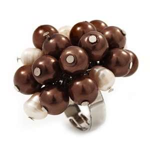 Freshwater Pearl & Bead Cluster Silver Tone Ring (Chocolate & Ivory