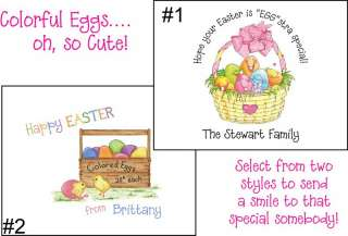 Personalized COLORFUL EGGS Easter Note Cards Stationery