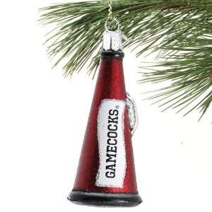 South Carolina Gamecocks Garnet Glass Megaphone Ornament