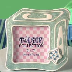 Baby block frame favor   BLUE Baby