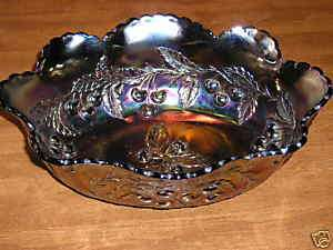 Large Dugan Wreathed Cherry Carnival Glass Bowl