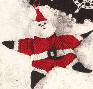 Vintage Crochet Pattern Santa Star Xmas Tree Ornament