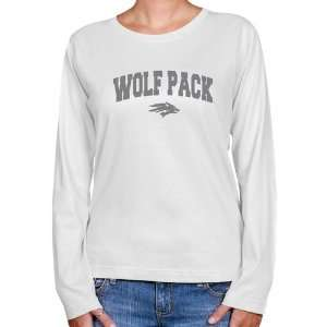 NCAA Nevada Wolf Pack Ladies White Logo Arch Long Sleeve Classic Fit