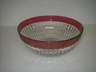 Indiana Glass MT. VERNON Bowl Salad 10 Crystal w Ruby