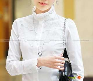New Women Fashion Lace Long Sleeve Shirt Blouse Top Stand Collar White