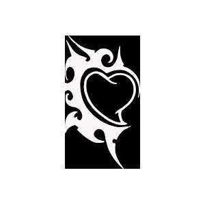 HRT (44) 6 white vinyl decal tribal design heart die cut