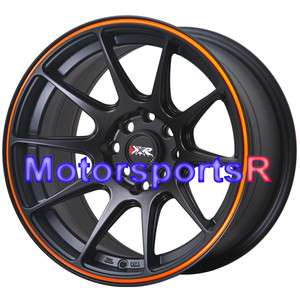 25 XXR 527 Black Orange Stripe Concave Rims Wheels 4 lugs Nissan 240sx