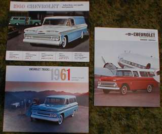 1960 1961 1963 Chevy Truck Suburban Brochures 3pc
